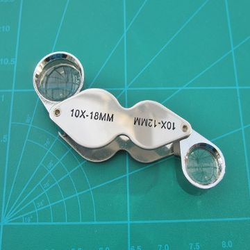 Twin Eye Loupe 18mm x10 and 12mm x10 Magnification Chrome Finish
